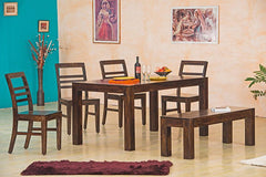 Solid Wood Contrast Dining Set