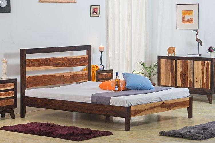716587a791 Buy Solid Wood Eter Bed With Walnut Finish Online in India - Latest ...