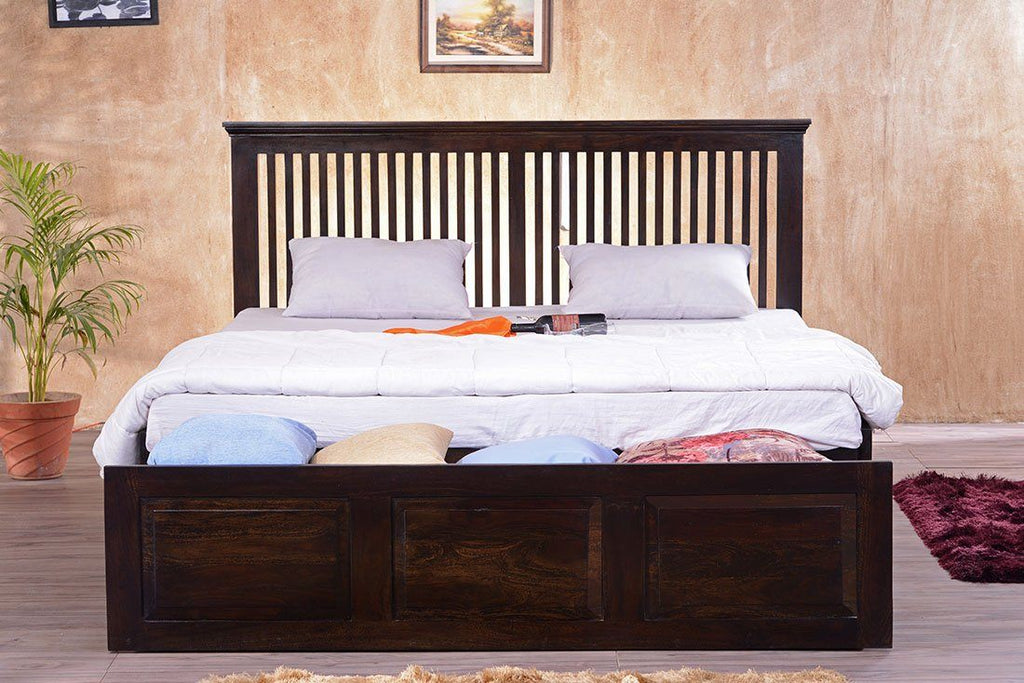 Solid Wood Stripe Bed with Front Open Dual Storage