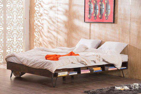 Solid Wood Adept Bed with Inbuilt Bedside