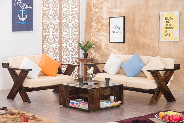 Buy Solid Wood New Crossia Sofa Set Online In India Latest Sofa