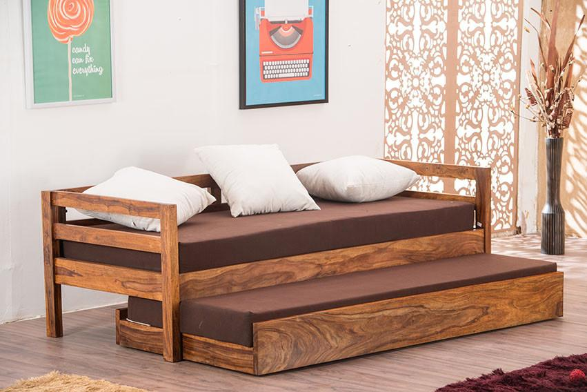 Buy Solid Wood Capital Sofa Cum Bed Trundle Online In