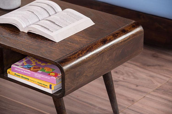 Solid Wood Slant Coffee Table with Drawer