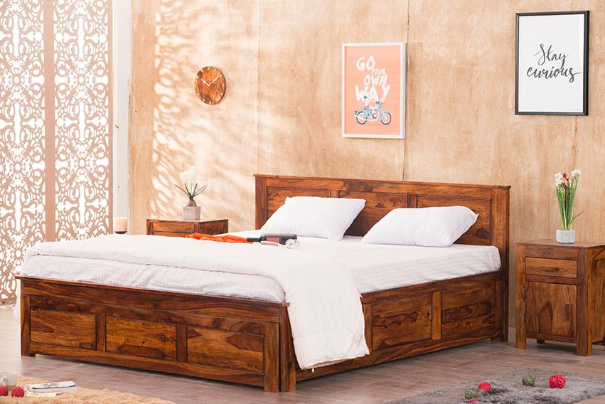 Solid Wood Essential Bed with Front Open Dual Storage