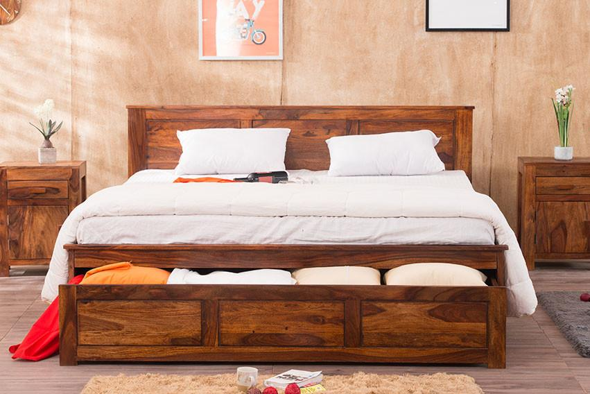 solid wood essential bed with front open dual storage solid wood furniture online buy beds. Black Bedroom Furniture Sets. Home Design Ideas