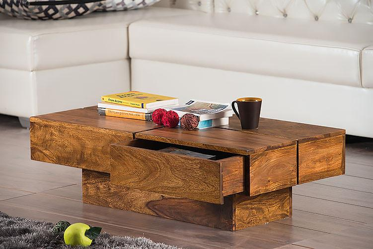 Solid Wood Contrast Coffee Table with Drawer
