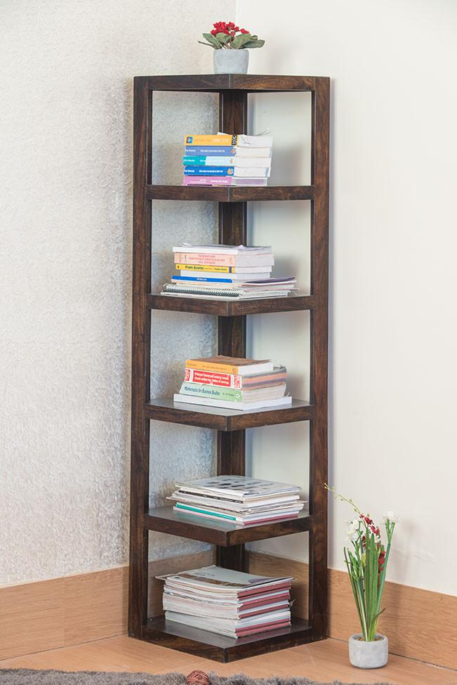 Buy Solid Wood Corner Bookcase Grand Online New Launches Bookcase