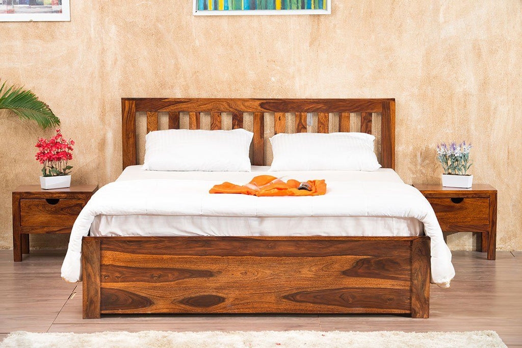 Solid Wood Cube Classic Bed Storage
