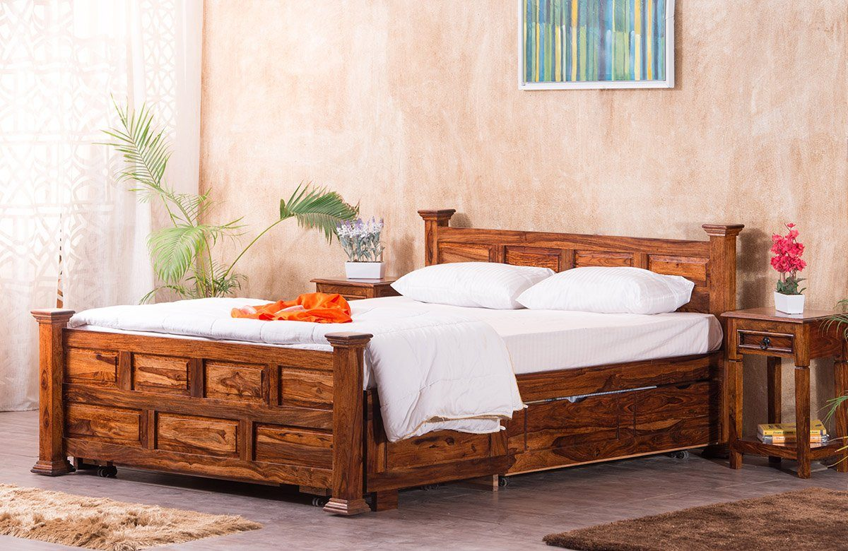 Buy Solid Wood Jaipur Bed Online In India Latest Bed Designs Collection Insaraf Saraf Furniture