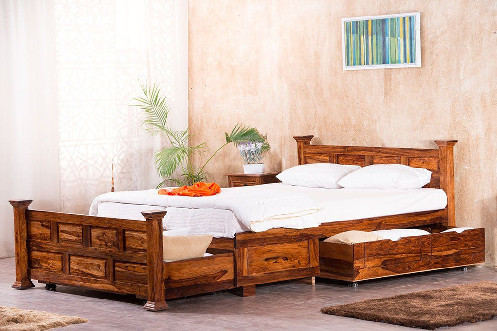 Solid Wood Jaipur Bed with Drawer Storages