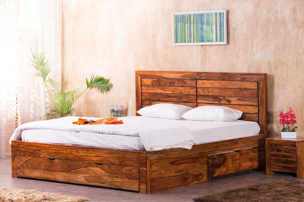 Solid Wood Imperia Bed with Drawer Storages