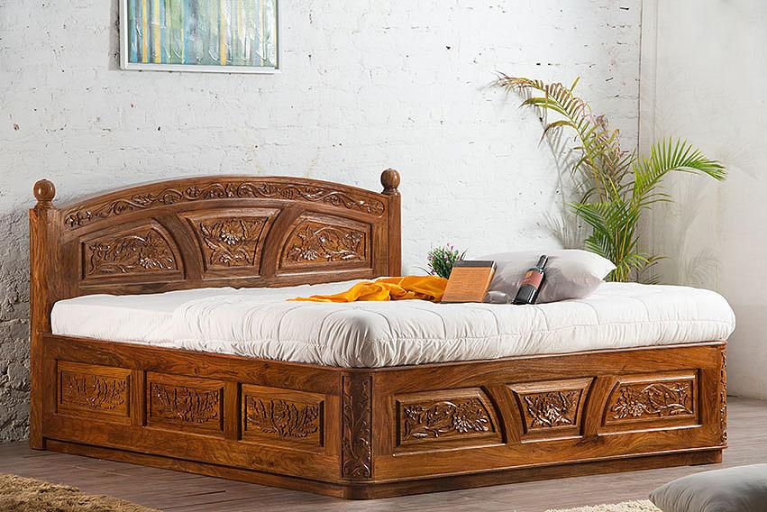 Buy Solid Wooden Carving Czar Bed With Storage Online In