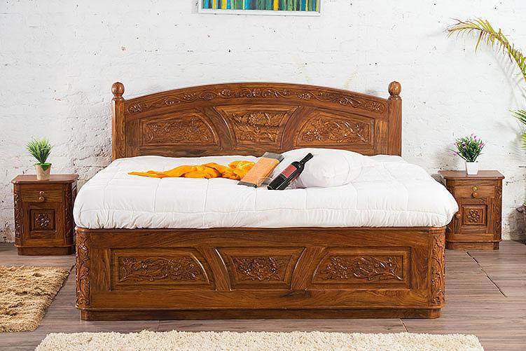 Solid Wooden Carving Czar Bed with Storage