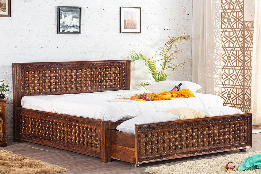 Solid Wood Brass Bed C with DUAL Storage