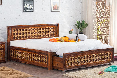Solid Wood Brass Bed A with DUAL Storage