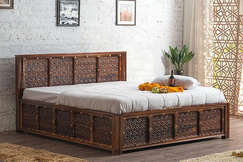 Solid Wood Brass Panache Bed with Storage