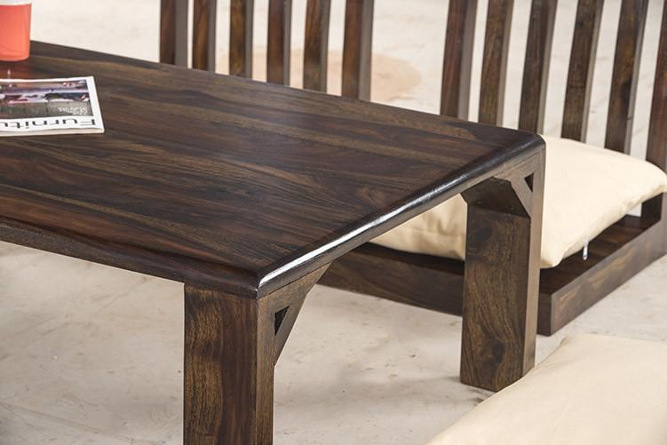 Solid Wood Japanese Style Low Dining Table / Breakfast Table Set