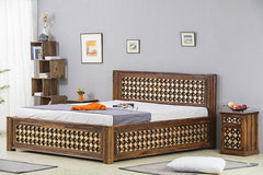 Solid Wood Brass Bed D with Storage