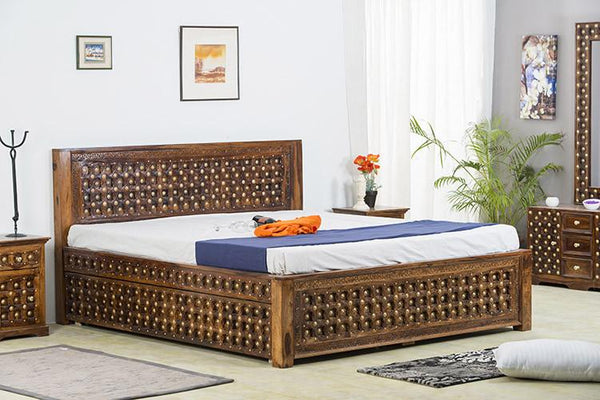 Solid Wood Brass Bed C with Trolley Storage