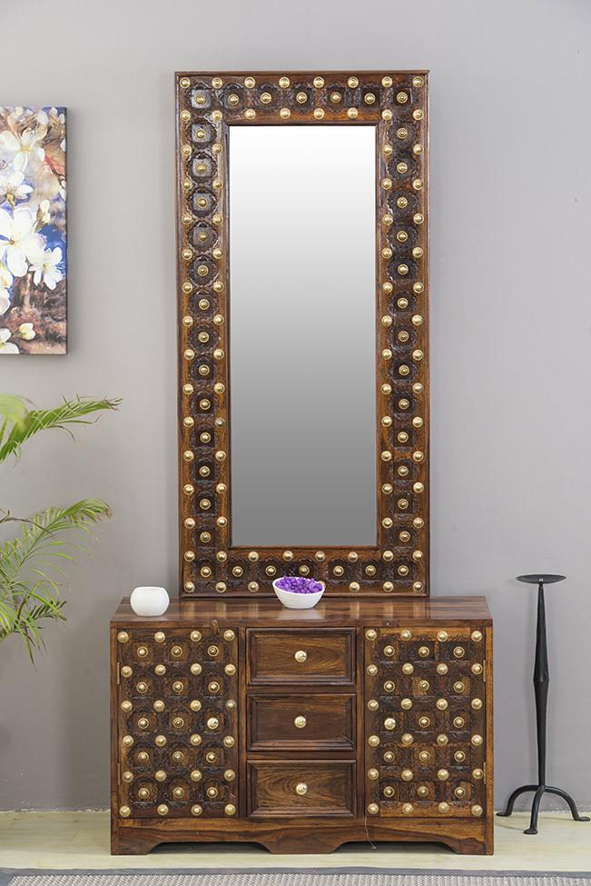 Solid Wood Brass Dressing Table C. Solid Wood Brass Dressing Table C   Saraf Furniture   Furniture