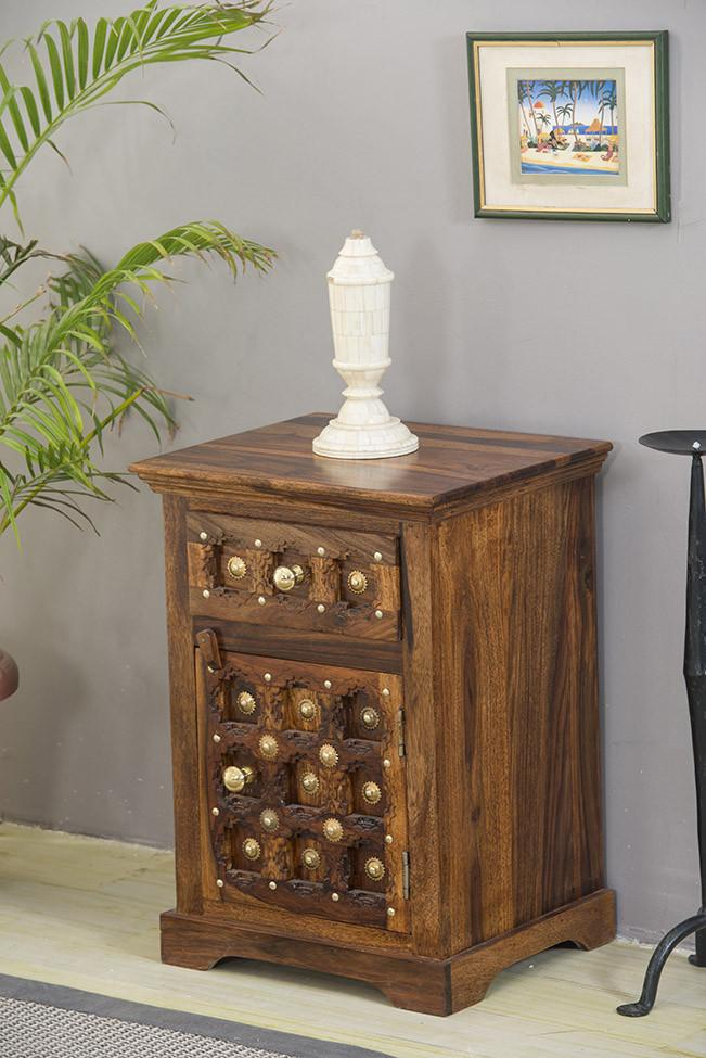 Solid Wood Brass Bedside Table C
