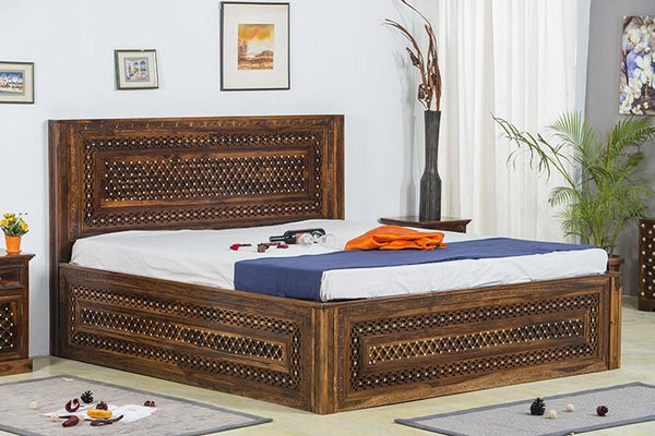 Solid Wood Brass Bed B with Storage