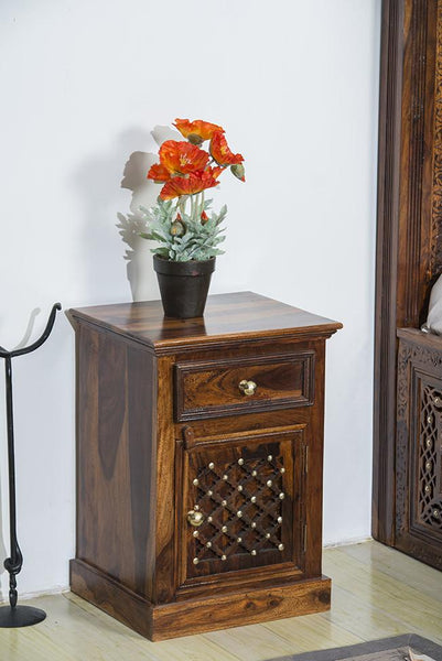 Solid Wood Brass Bedside Table B