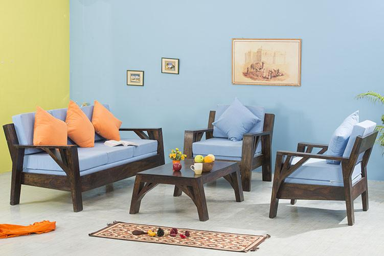 Solid Wood Frozen Sofa Set