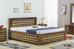 Solid Wood Brass Bed A with Storage