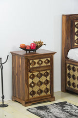 Solid Wood Brass Bedside Table A