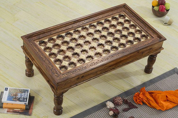 Solid Wood Brass Coffee Table D