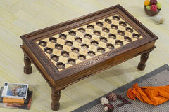 Solid Wood Brass Coffee Table A