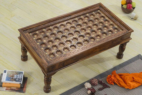 Solid Wood Brass Coffee Table C