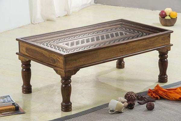 Solid Wood Brass Coffee Table B