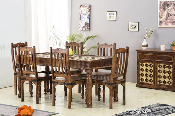 Solid Wood Brass Dining Set A