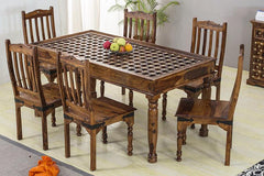 Solid Wood Brass Dining Set C