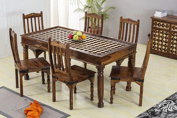 Solid Wood Brass Dining Set D