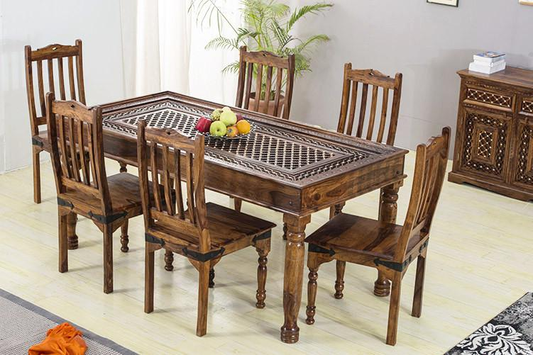 Solid Wood Brass Dining Set B