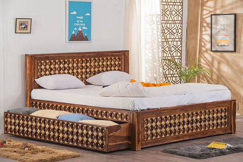 Solid Wood Brass Bed D with Trolley Storage