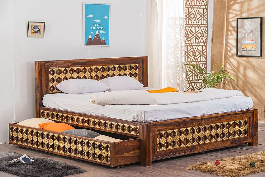 Solid Wood Brass Bed A with Trolley Storage - Saraf Furniture