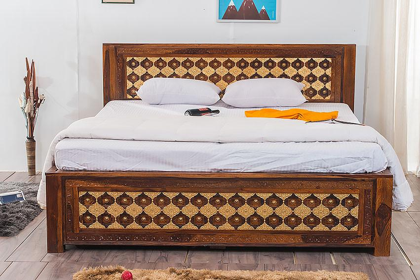 Solid Wood Brass Bed A with Trolley Storage