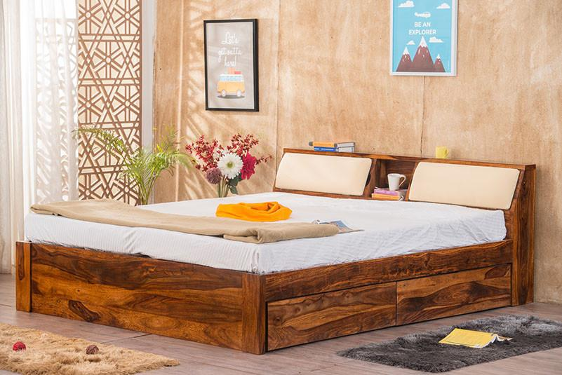 Buy Solid Wood Slant Storage Bed Online In India New Bed Designs