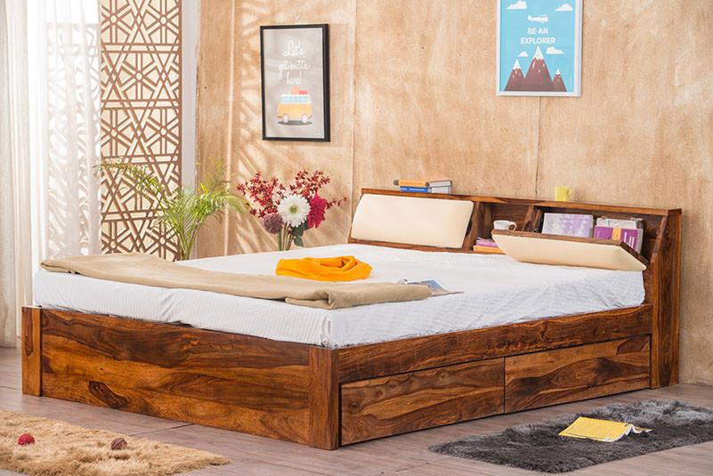 Solid Wood Slant Storage Bed