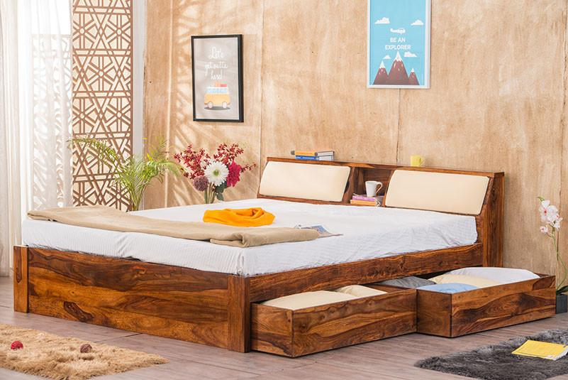 Buy Solid Wood Slant Storage Bed Online In India New