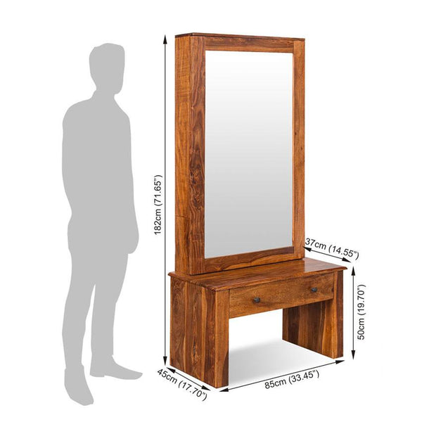 Solid Wood Turner Dressing Almirah with Sliding Door