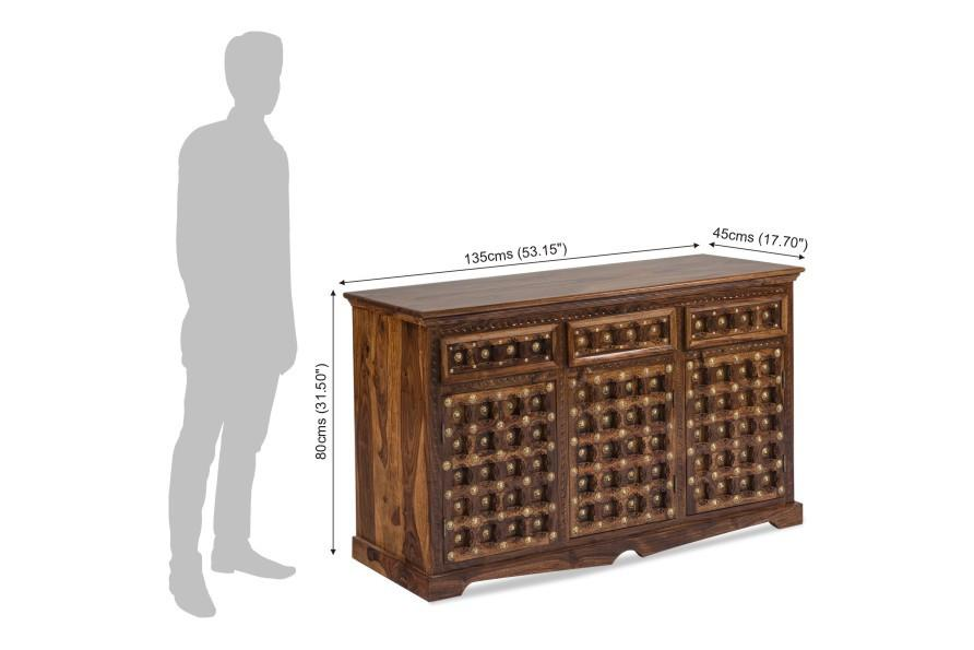 Solid Wood Brass Sideboard C