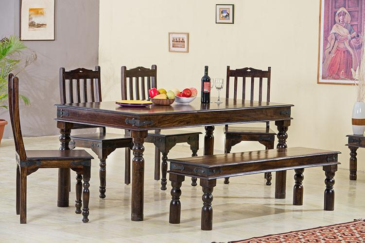 6 Seater Set (Table + 4 Chairs + Bench)