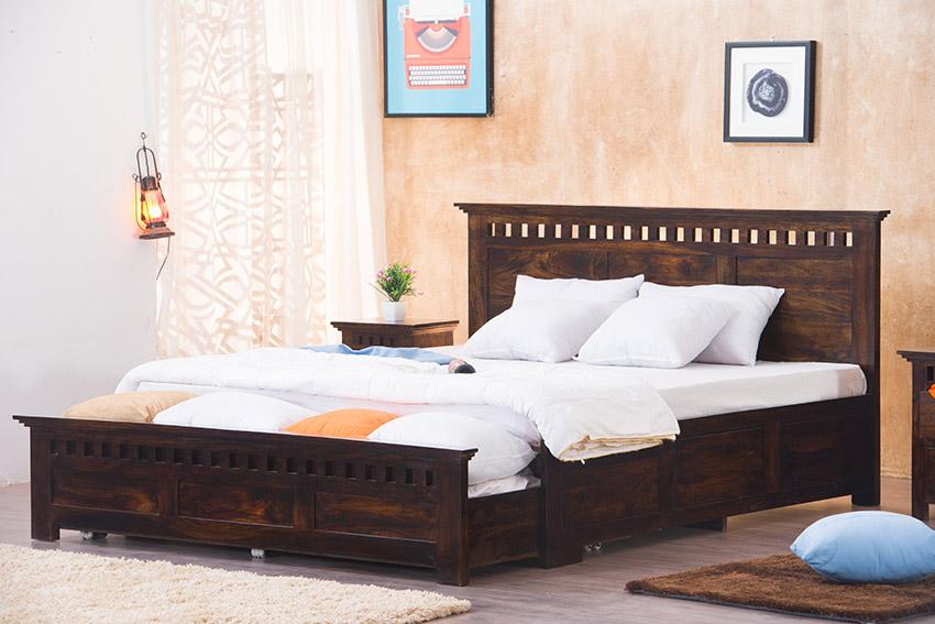 Buy Solid Wood Kuber Bed With Front Open Dual Storage Latest Bed Designs Saraf Furniture,Creative Yearbook Cover Design Ideas