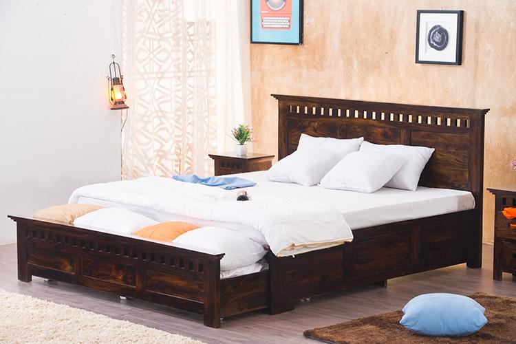 Solid Wood Kuber Bed with Front Open Dual Storage