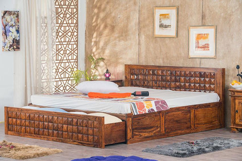 Solid Wood Bowley Bed with Front Open Dual Storage